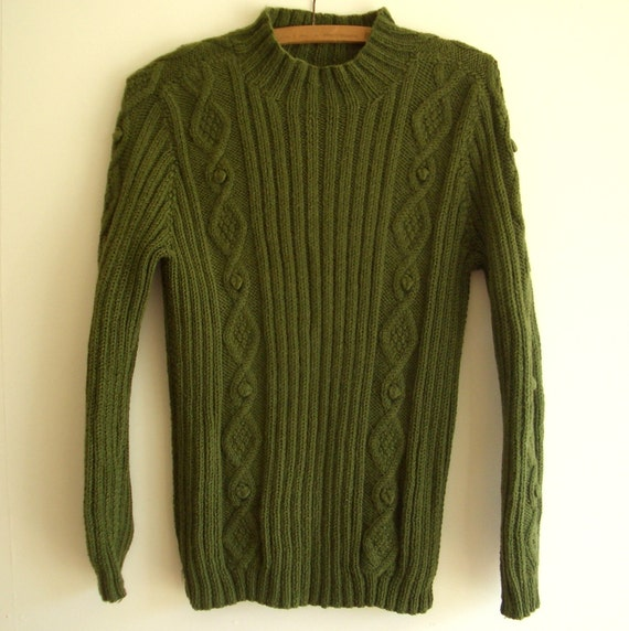 Vintage Cable Knit Sweater, Green Wool, Handmade, Boyfriend Style Pullover, Long Sleeves, 80s Retro Women's Fashion, Warm & Cozy, Size Med