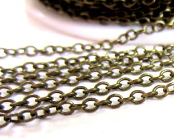12 ft Antique bronze chain 2mm x 1.5mm links  oval link  strong sturdy iron cross jewelry fnding lead safe nickle safe C034