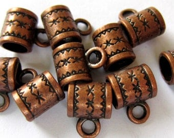 28 Copper Charm hangers  jewelry making suppplies pendant hangers bead antique copper bail hangers 11mm x 8mm A0417-R(L3),