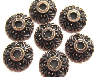 50 Bead caps antique copper bali style openwork jewelry making 10mm x 4mm V4