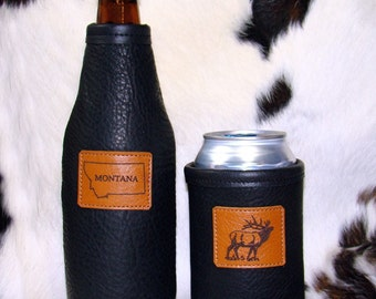 Leather Mens Gift Set of 2 - For the Montana Elk Hunters- Bison Beverage Insulator For Your Beer Water Soda Beverages
