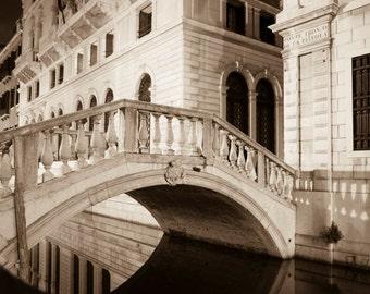 Venice Photo Italy Photograph Venice Night Black and White Canal Bridge Fine Art Print  ven55