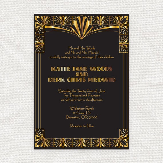 gorgeous gatsby invitation printable file 1920s art deco
