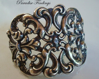 New Silver Bracelet Cuff Supply, Victorian Jewelry Style, High Quality Sterling Silver Ox Plate, Rings Added, Embellish or Just Add A Chain