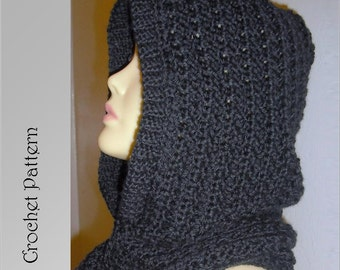 Hooded Scarf Crochet Pattern , Automatic Download