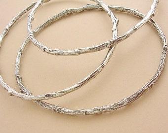 silver twig bangle bracelet set, sterling silver, botanical bracelets, organic nature jewelry