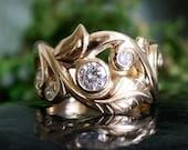 Leaf Ring,Multi Diamond Ring, Engagement Ring, Ready to Ship, 14k Gold, .76 Carats Total Diamond Weight, Bezel Set, Gypsy Set, Handmade