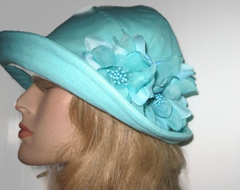 Aqua Cloche Hat with Floral Trim Women