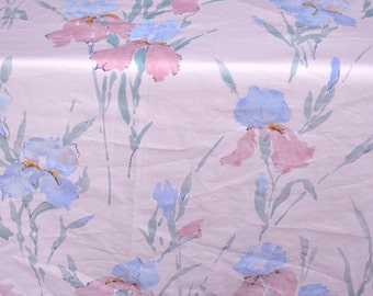 Vintage Bed Sheet - Iris on Pale Pink - Twin Flat NOS