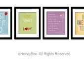 Art Prints, typography prints, Home decor, Wall art, set of 4 posters , from 8x10 inch up to 16x20 inch