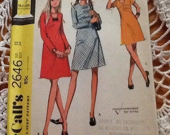 1970's McCall's 2646 A Line Dress Pattern