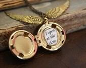 Harry Potter Snitch Locket - Ball Locket Necklace - Personalized Locket - Custom Saying - Steampunk Locket - Snitch Necklace