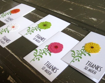 Glittering Zinnia Flowers with thanks so much notecards - Set of 5 - Handmade notecards