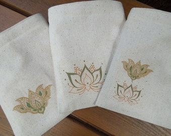 Reusable sandwich bag -  Gender neutral snack bags - Lotus on natural unbleached cotton - Choose your favorite from 3 options