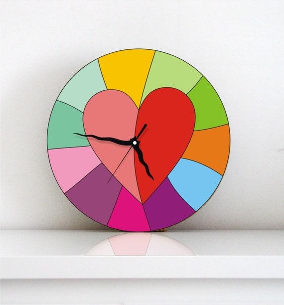 wall clock bright rainbow colorful heart kitchen wall clock wall art home decor