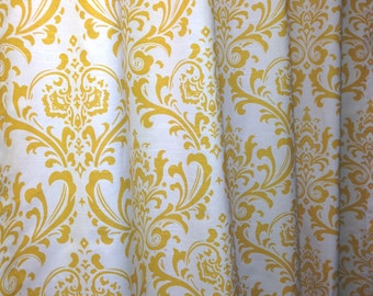 Custom made designer shower curtain Traditions damask corn yellow and white cotton