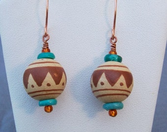 Southwest Pottery Bead Earrings