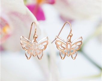 Butterfly earrings, Rose Gold earrings, Short earrings, Modern jewelry, Under 25 jewelry, Dangly earrings, Rose Gold butterfly