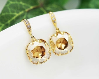 Bridal Earrings Bridesmaid Earrings Gold plated Sterling Silver Ear hooks and Golden Shadow Swarovski Crystal Square drops