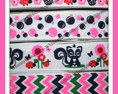 New 3 Yards 3/8 7/8 M2MG SKUNKS and Lady Bugs flowers chevy Chevron Dots on White Grosgrain Ribbon hairbows navy pink green Your Choice