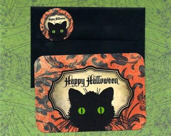 Halloween Cards, Black Cat, Stickers, Boo!