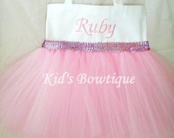 Monogrammed Pink Tutu Tote Bag with Sequins Trim