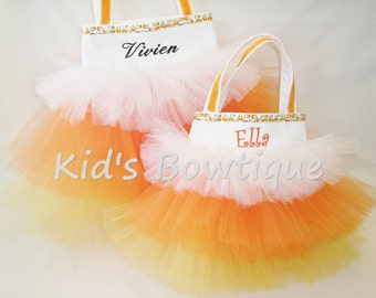 Monogrammed Candy Corn Halloween Trick or Treat Bag - Personalized Halloween Tutu Tote Bag