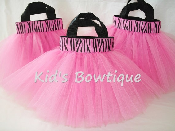 Set of 6 Hot Pink Zebra Ribbon Party Favor Tutu Bags - Diva Princess Zebra Ribbon Birthday Gift Bags