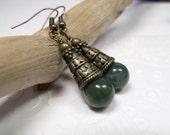 Indian Jasper Earrings Mossy Green Earrings with Decorative Brass Cones