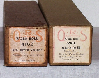 FOLK SONG Piano Rolls, 88 Note (Maple on the Hill & Red River Valley)Lot of 2 Vintage 1930s