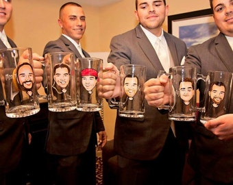 Cool Groomsmen Gift - Original Caricature Beer Mugs - Hand Painted Beer Mug