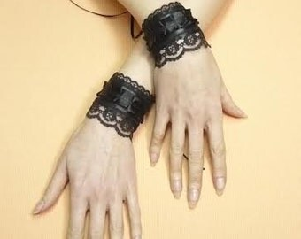 Gothic Cuffs with Lace and Corset Lacing, Vampire Wedding Wristlets, Textile Bracelets, Renaissance Steampunk Victorian Gauntlets