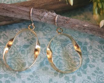 Large Hoop Earrings - Gold Hoops - Twisted Hoops - Handmade Gold Hoops