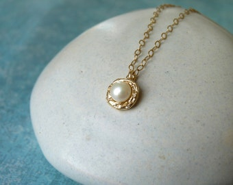 Real Pearl Necklace - Gold Pearl Pendant - Bridal Pearl Necklace - Pearl Pendant Necklace   Handcrafted Jewelry