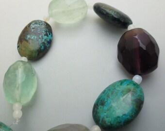 SALE Was 12.99 Flurorite And Chrysocolla Gemstone Chunky Beads LOT