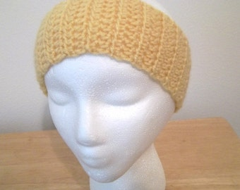 Headband - Crochet Headband in Yellow for Those Who Don't Like to Wear a Hat