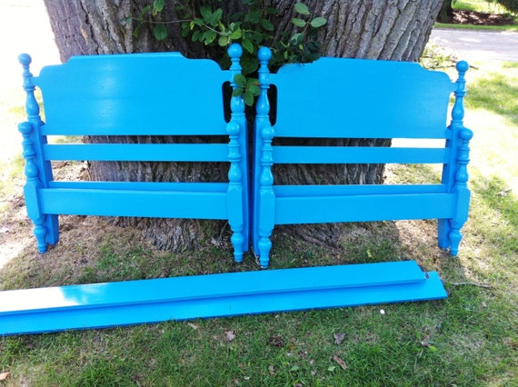 Caribbean Blue Pair Vintage Twin Beds Sale Reserved for