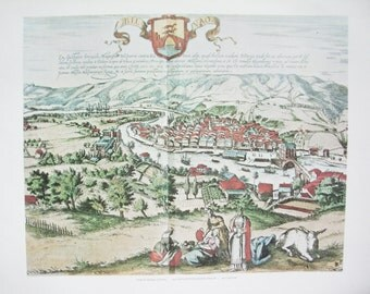 Direct Lithographic Print. Vintage Map. View of Bilbao Spain. Cartographer George Braum. Authenticity Sticker. Numbered.