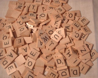 Scrabble Tiles Complete Set for Crafting Supplies Wooden Alphabet Letters 100 Tiles
