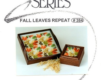 Fall Leaves Repeating Pattern Autumn Red Gold Green Brown Leaf Counted Cross Stitch Embroidery Craft Pattern Sudberry House Leaflet 384
