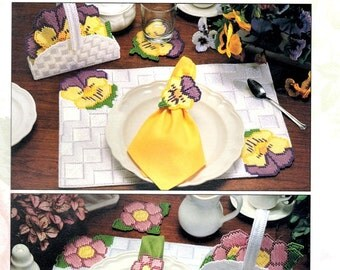 Floral Table Settings Placemat Napkin Ring Coaster Pansy Rose Morning Glory Plastic Canvas Embroidery Craft Pattern Leaflet 1481 Leisure Art