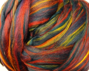 Merino Multicolor Roving, Merino Wool, Merino Roving, Wool Roving, Wool Roving for Spinning and Felting - 8 oz  -Borealis