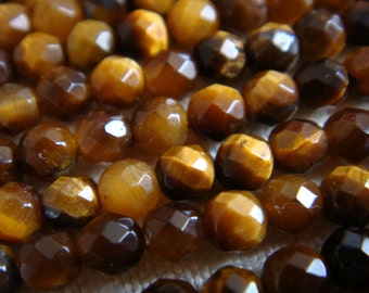 15. Tiger Eye 3mm Faceted Round Bead 16 Inches Strand 121 pcs Stones Beads