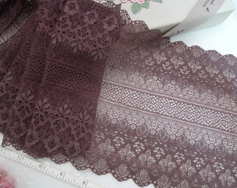 Stretch lace, Embroidered lace, Elastic lace, Spandex lace, Floral lace, Lycra lace, Brown lace, Floral lace, 3 yards BN083