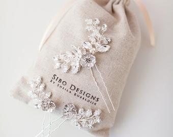 Crystal Hair Pins, Bridal Hair Pins, Silver Floral Hair pins, Bridal Headpiece, Crystal Wedding Headpiece, Wedding hair pins  - Style 317