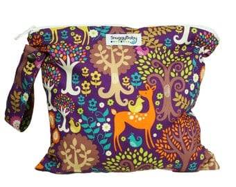 Wet Bag  For Cloth Daipers, Mama Cloth, Potty Training Accidents, and More - Fantasy Forest - FAST SHIPPING