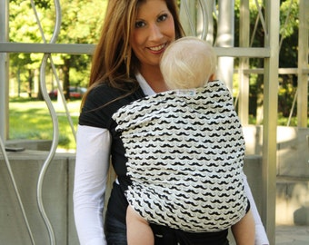 Mustaches Baby Carrier- Hybrid Wrap for Front & Back Carries- Comfort of a Stretchy Wrap with the Support and Versatility of a Woven Wrap