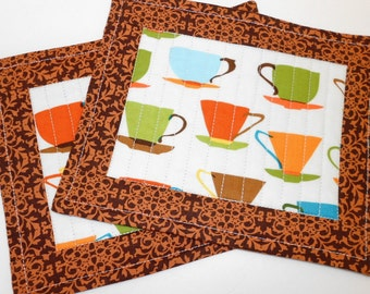 Coffee Quilted Mug Rugs Set Snack Mats  by SEW FUN QUILTS
