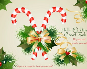 Holiday Clipart, Christmas Clipart, Candy Cane Clipart, Holly Clipart, Bow Clipart