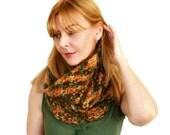 Chunky Knit Cowl SALE Adele Tube Scarf Orange Green Brown Wool Mohair Acrylic Gift Bag